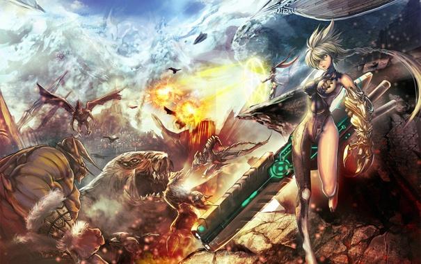 Фото обои девушка, оружие, скалы, огонь, арт, монстры, битва
