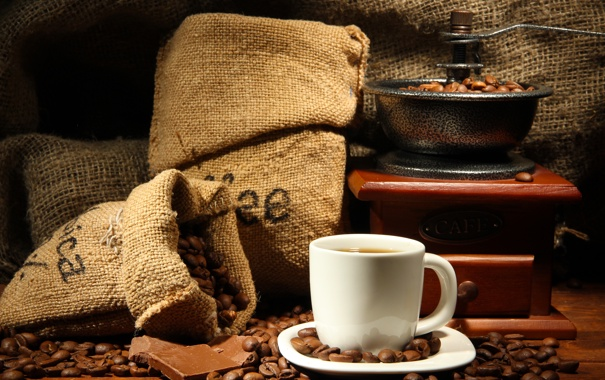 Фото обои кофе, шоколад, чашка, напиток, блюдце, зёрна, кофемолка