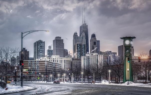 Фото обои город, Зима, Снег, Чикаго, Небоскребы, США, Америка