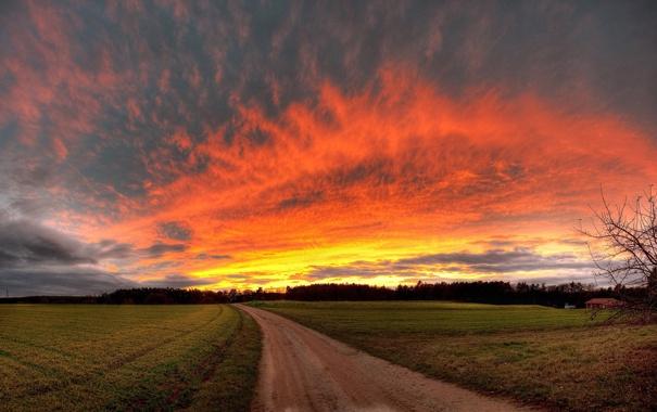 Фото обои дорога, поле, небо, облака, природа, фото, обои