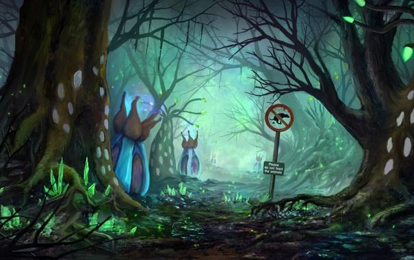Фото обои лес, цветы, знак, растения, арт, аллея, дервья
