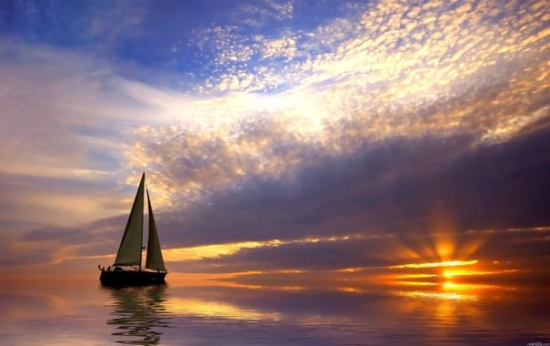 Фото обои лодка, вода, Закат