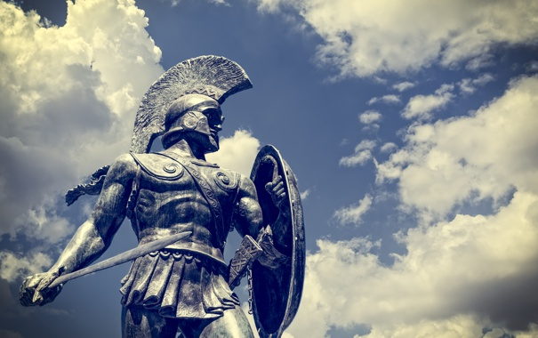 Фото обои soldier, statue, Sparta, modern day