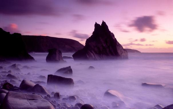 Фото обои море, фиолетовый, небо, вода, облака, природа, туман
