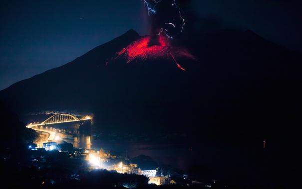 Фото обои город, огонь, стихия, вулкан, извержение, лава, Сакурадзима