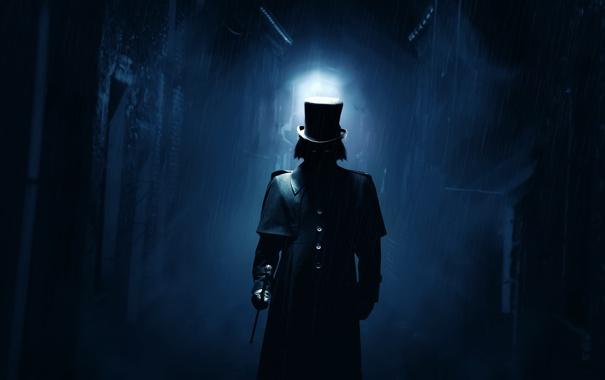 Фото обои ночь, дождь, улица, человек, фигура, арт, трость