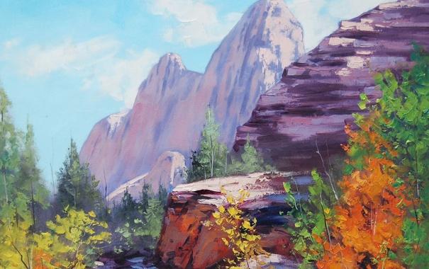 Фото обои осень, облака, деревья, горы, природа, скалы, арт