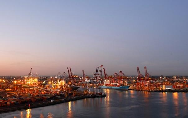 Фото обои корабль, пристань, корабли, кран, вечер, порт, port