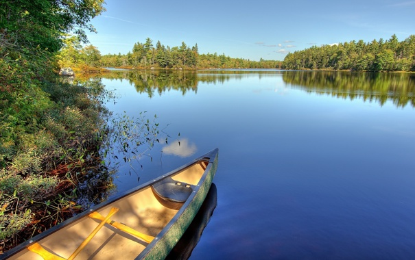 Фото обои зелень, вода, пейзаж, озеро, пруд, река, лодка