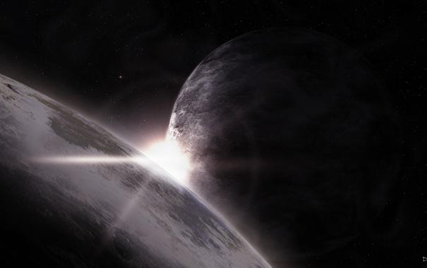 Фото обои звезды, восход, планеты, sunrise