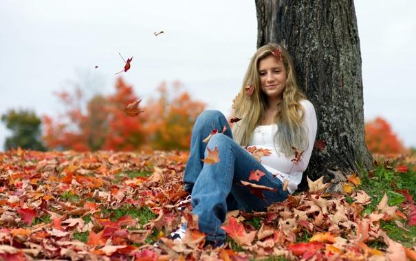 Фото обои осень, листья, девушка