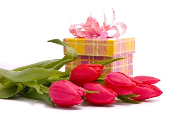 Фото обои коробка, подарок, тюльпаны