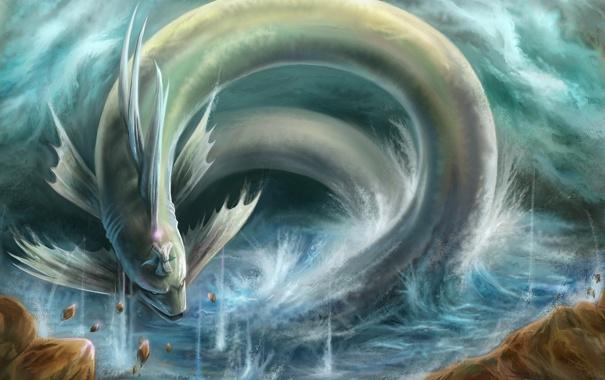 Фото обои камни, магия, молнии, дракон, человек, змея, монстр