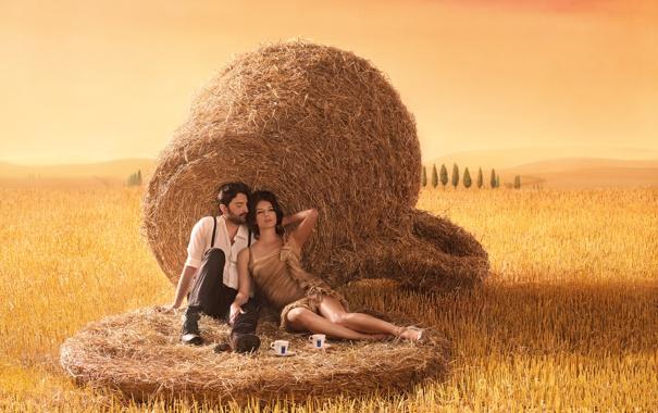 Фото обои кофе, реклама, двое, Toscana, Lavazza calendar