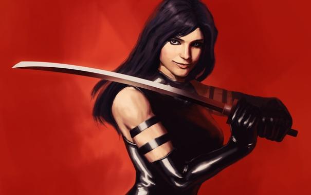 Фото обои оружие, фон, комикс, арт. девушка, Psylocke, Псайлок