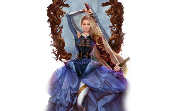 Фото обои рама, Девушка, драконы, меч, блондинка