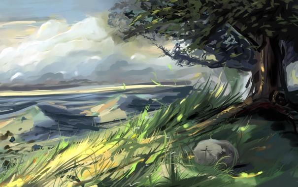 Фото обои трава, дерево, ветер, листва, камень, холм, нарисованный пейзаж