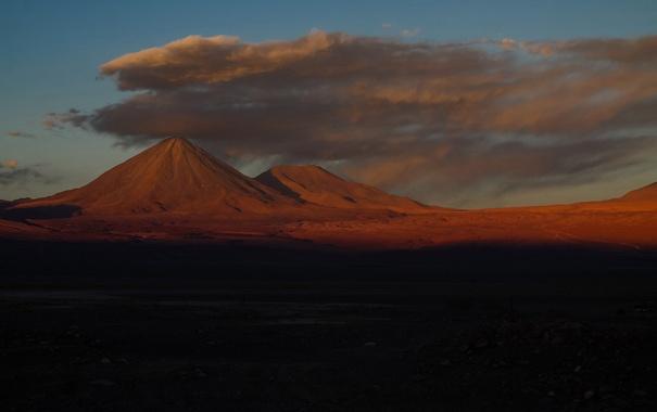 Фото обои небо, облака, закат, горы, вечер, Чили