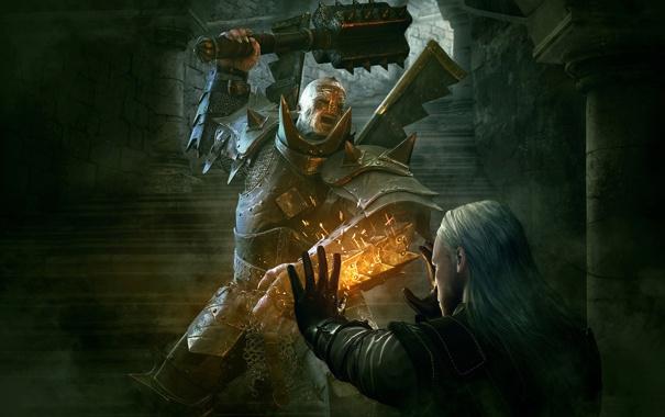 Фото обои магия, доспехи, воин, ступени, булава, латы, The Witcher 2