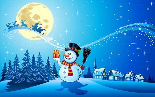 Фото обои снег, деревья, новый год, шарф, снеговик, new year, trees