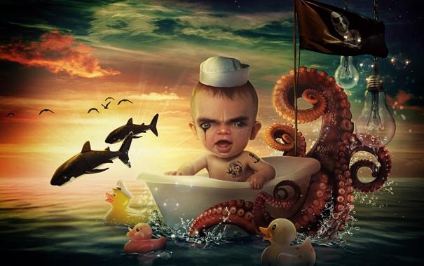 Фото обои море, моряк, Sailor