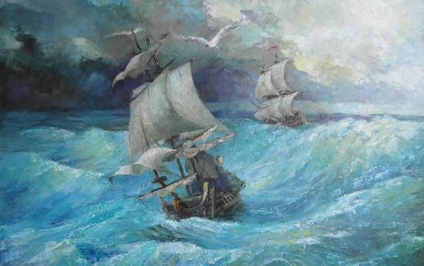 Фото обои море, шторм, корабли, арт