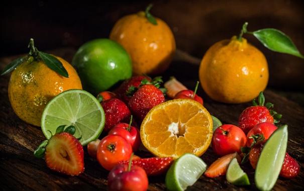 Фото обои мандарины, клубника, цитрусы, лайм, ягоды
