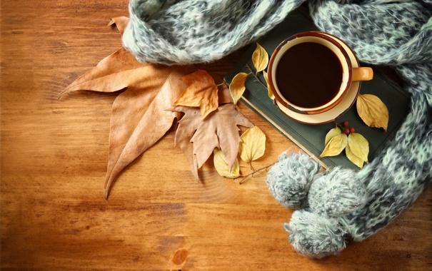 Фото обои осень, листья, кофе, шарф, чашка, hot, autumn