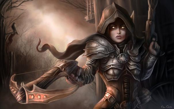 Фото обои лес, девушка, оружие, арт, капюшон, demon, броня