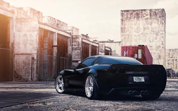 Фото обои чёрный, Corvette, диски, задом