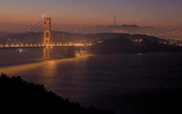 Фото обои ночь, мост, город, огни, золотые ворота, сан-франциско