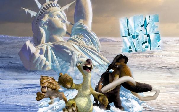 Фото обои Нью-Йорк, Статуя Свободы, Диего, sea, мамонт, New York, movie