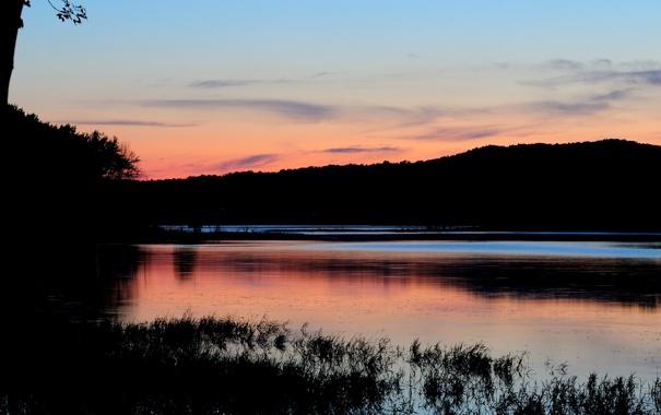 Фото обои закат, горы, озеро