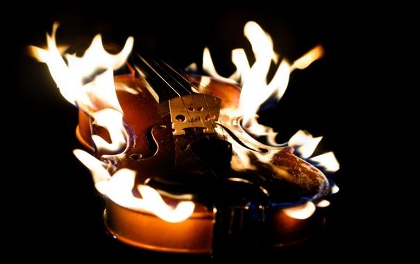Фото обои фон, огонь, скрипка
