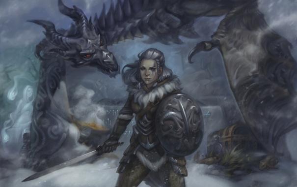 Фото обои девушка, снег, дракон, дух, меч, арт, сундук