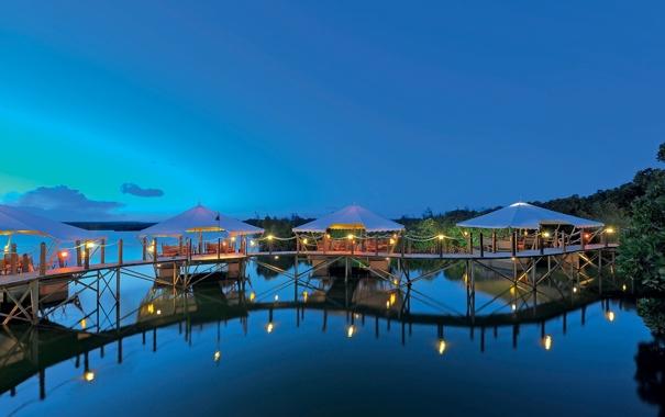 Фото обои океан, вечер, причал, ресторан, resort, Mauritius, dining