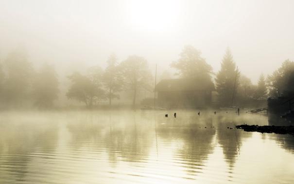 Фото обои строение, туман, дом, лестница, озеро, гладь