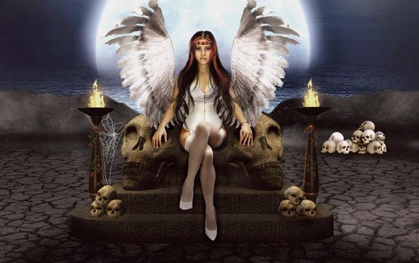 Фото обои ночь, фантастика, луна, крылья, паутина, ангел, черепа