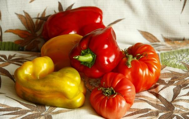 Фото обои лето, еда, желтые, пища, красные, перец, овощи
