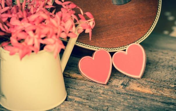 Фото обои цветы, сердце, гитара, love, розовые, vintage, heart