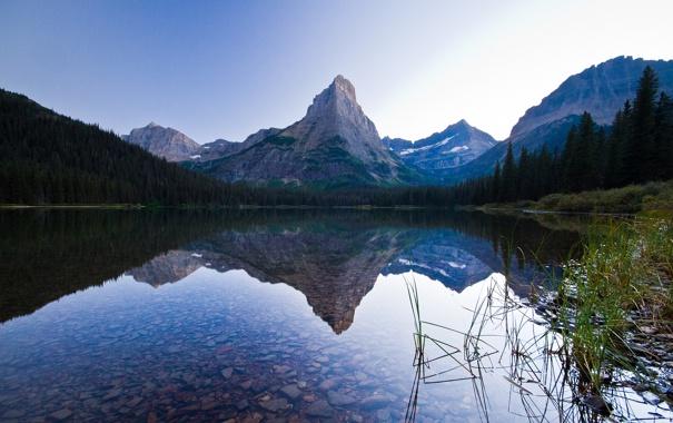 Фото обои небо, горы, озеро, отражение