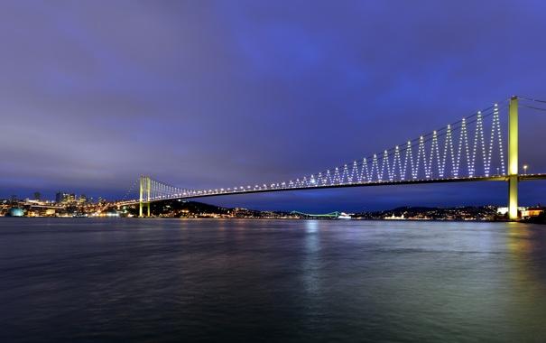 Фото обои мост, город, огни, река, вечер, мегаполис