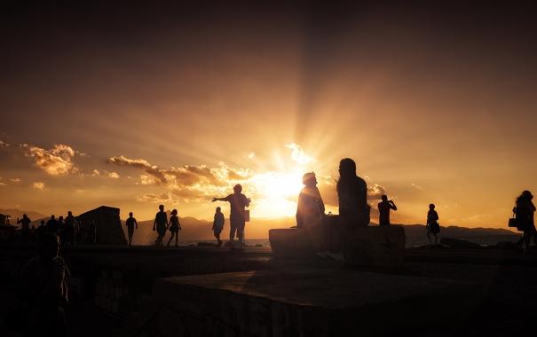 Фото обои summer, beach, sunset, cloud, people