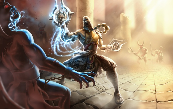 Фото обои арт, монах, демоны, diablo 3, храм. колонны