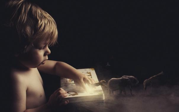 Фото обои звери, книга, ребёнок