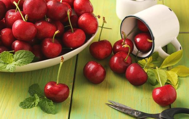 Фото обои красный, ягоды, кружка, мята, вишни, ножницы