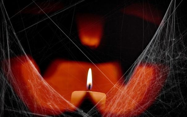Фото обои pumpkin, candle, citrouille