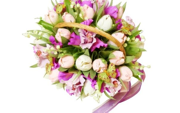 Фото обои фото, Цветы, Тюльпаны, Букет, Орхидеи