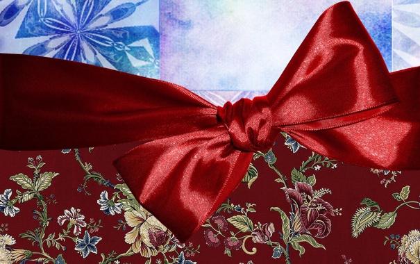 Фото обои красный, праздник, новый год, бантик, ленточка, упаковка