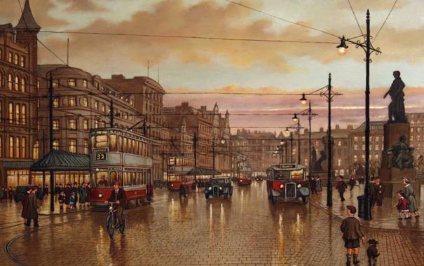 Фото обои небо, машины, тучи, город, люди, провода, рисунок